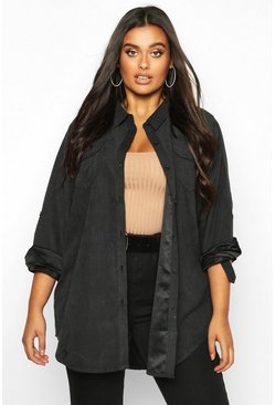 Black Plus Suedette Pocket Detail Oversized Shirt