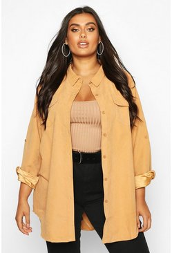 Camel Plus Suedette Pocket Detail Oversized Shirt