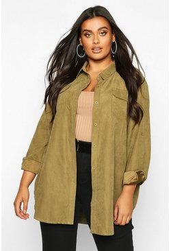 Khaki Plus Suedette Pocket Detail Oversized Shirt