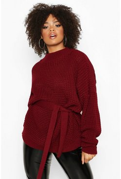 Berry red Plus Chunky Knitted Tie Belt Jumper