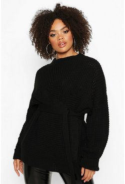 Black Plus Chunky Knitted Tie Belt Jumper