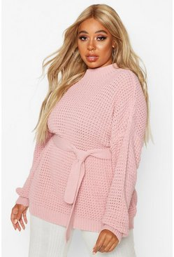 Blush pink Plus Chunky Knitted Tie Belt Jumper
