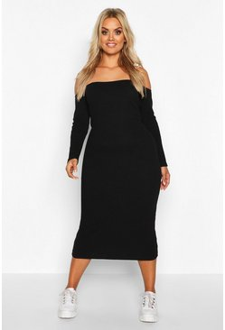 Black Plus Rib Drop Shoulder Midi Dress