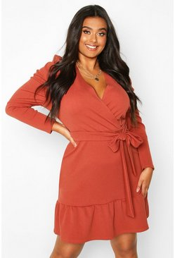 Terracotta orange Plus Ruffle Puff Sleeve Wrap Dress