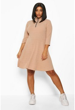 Stone Plus Soft Rib High Neck Skater Dress