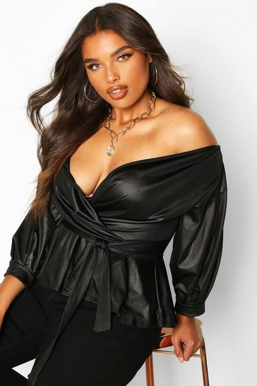 Black Plus Leather Look Off The Shoulder Top