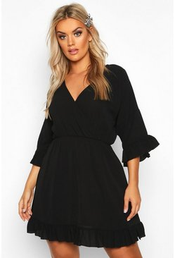 Black Plus Ruffle Sleeve Wrap Front Skater Dress