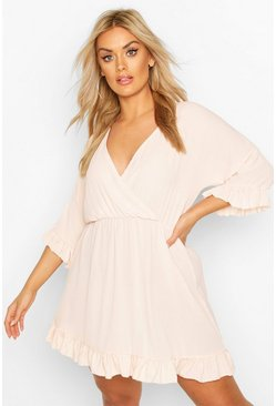 Blush pink Plus Ruffle Sleeve Wrap Front Skater Dress