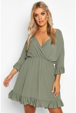 Khaki Plus Ruffle Sleeve Wrap Front Skater Dress
