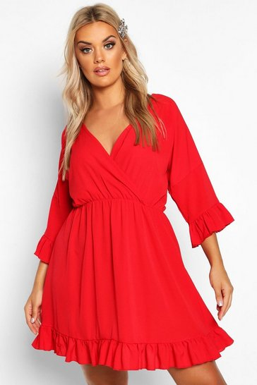 Red Plus Ruffle Sleeve Wrap Front Skater Dress