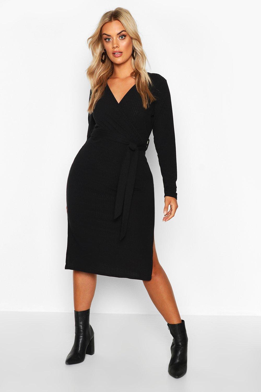 Plus Soft Rib Wrap Belted Midi Dress 8