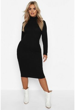 Black Plus Soft Rib Turtleneck Midi Dress