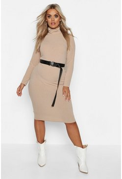 Stone beige Plus Soft Rib Roll Neck Midi Dress
