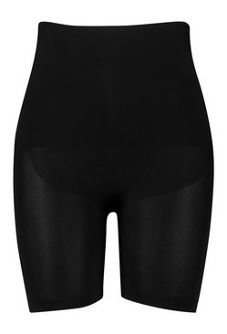 Black Plus High Waisted Control Shapewear Shorts