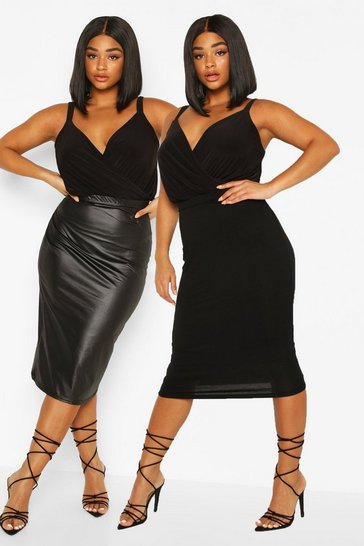 Black Plus 2 Pack Leather Look and Jersey Midi Skirt