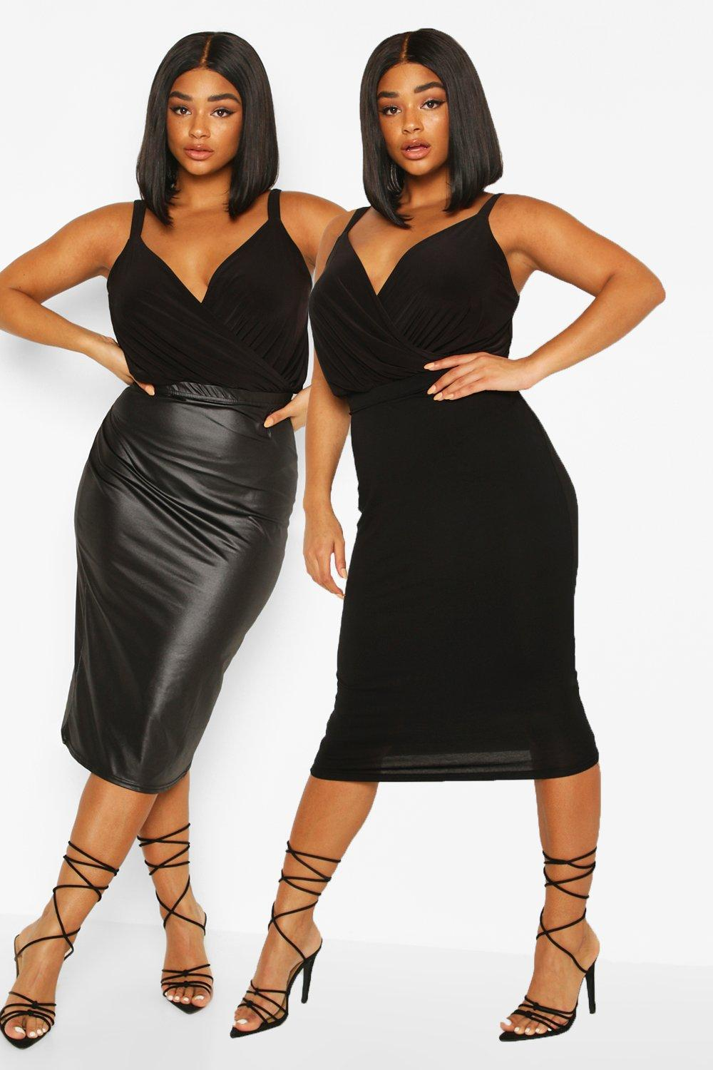 Plus 20 Pack Leather Look and Jersey Midi Skirt   boohoo