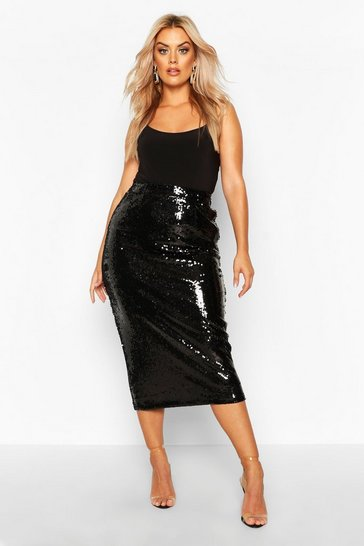 Black Plus Sequin Longline Midi Skirt
