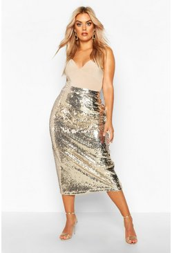 Gold metallic Plus Sequin Longline Midi Skirt