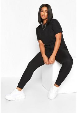 Black Plus Rib T-Shirt and Legging Co-Ord