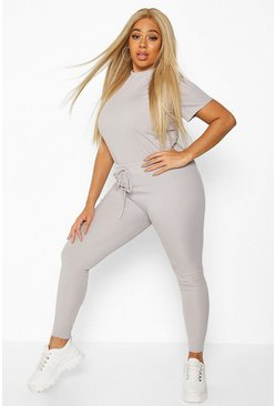 Grey Plus Rib T-Shirt + Legging Two-Piece