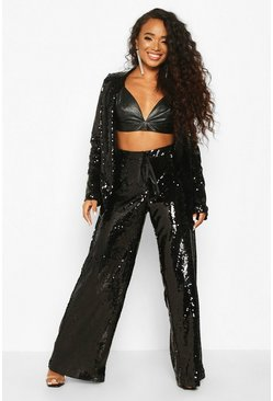 Black Petite Sequin Wide Leg Trousers