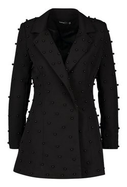 Black Petite Pearl Detail Blazer Dress