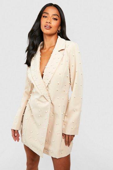 Nude Petite Pearl Detail Blazer Dress