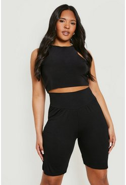Black Plus High Waist Sculpt Cycling Shorts
