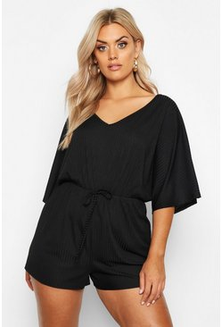 Black Plus Wide Rib V Neck Playsuit