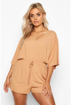 Camel beige Plus Wide Rib V Neck Romper