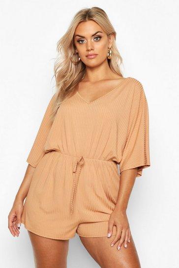 Camel beige Plus Wide Rib V Neck Playsuit