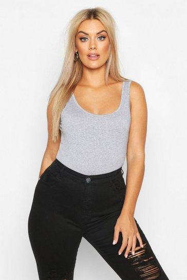 Grey Plus Basic Wide Strap Vest
