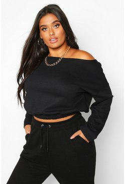 Black Plus Basic Slash Neck Drop Shoulder Sweat