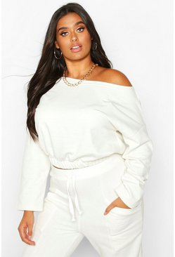 Ecru white Plus Basic Drop Shoulder Sweater Met Boothals