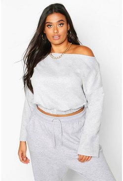Grey marl grey Plus Basic Slash Neck Drop Shoulder Sweat