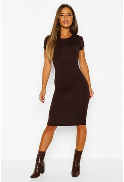 Chocolate brown Petite Basic Cap Sleeve Midi Dress
