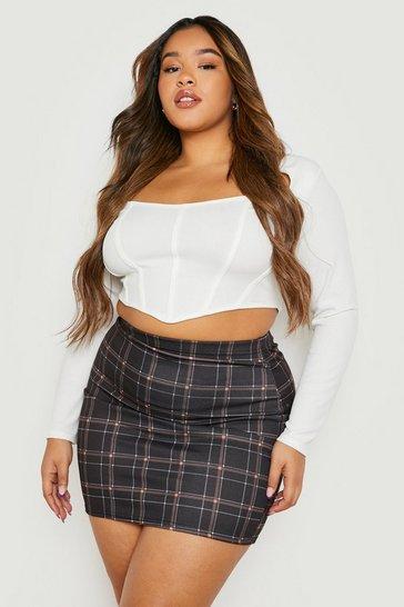 Brown Plus Check Woven Mini Skirt