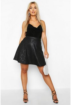 Black Plus Croc Pu Coated Skater Skirt