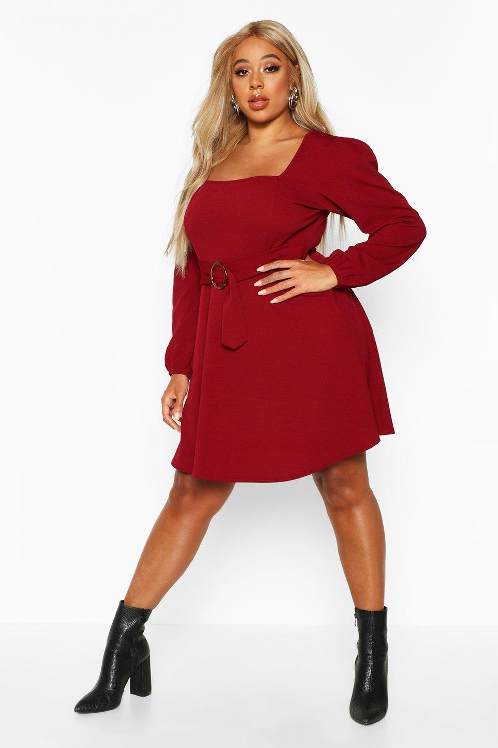 Plus Blouson Sleeve Tie Belted Skater Dress 14