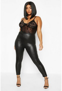 Black Plus PU High Waisted Leggings