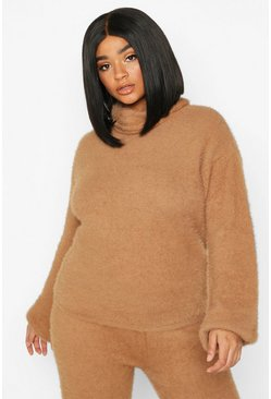 Camel beige Plus Super Soft Knitted Roll Neck Jumper
