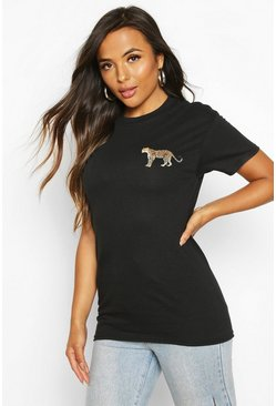 Black Petite Leopard Pocket Print T-Shirt