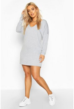 Grey Plus Oversized V Neck Basic T-Shirt Dress