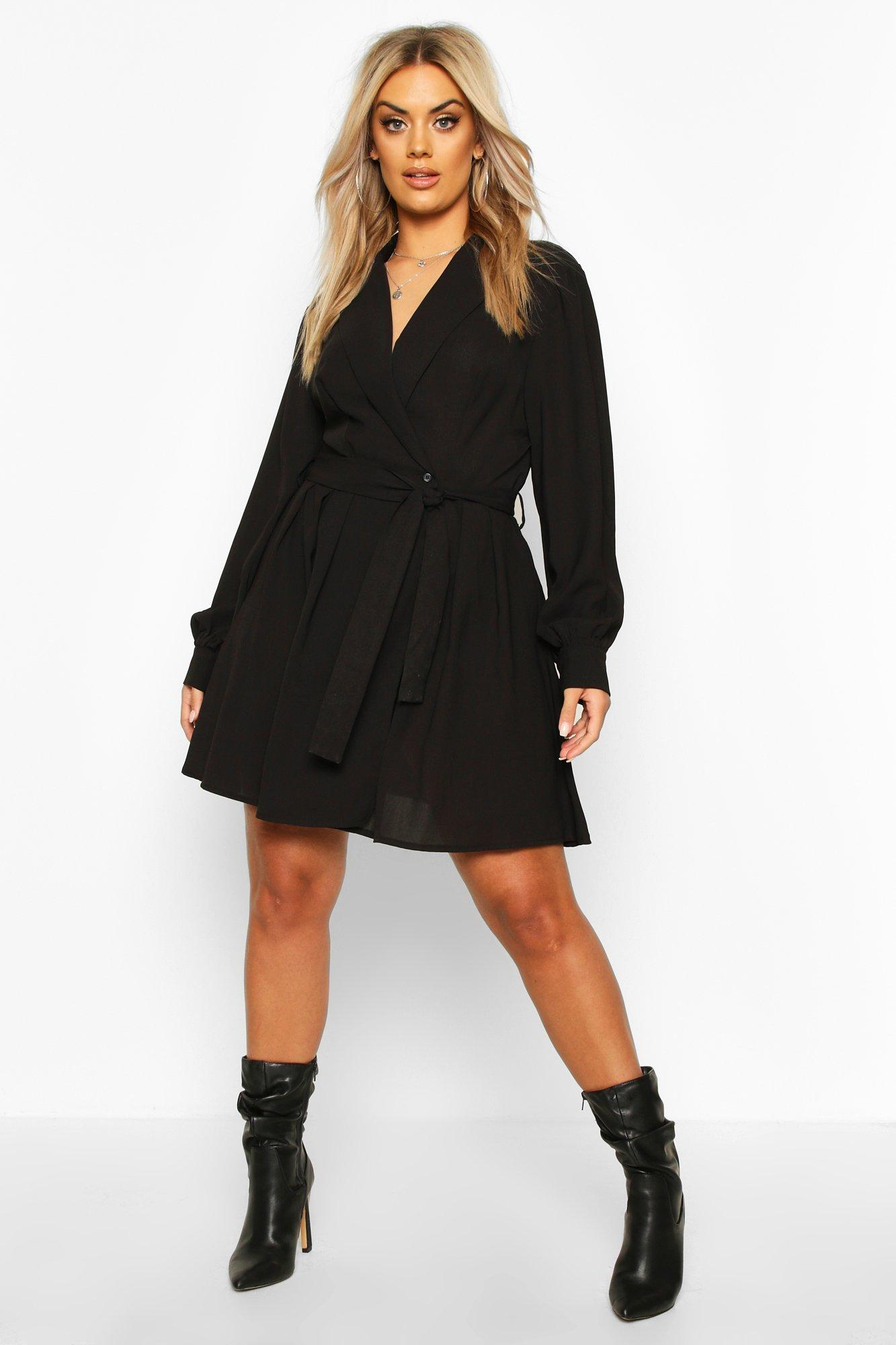 Plus Blazer Wrap Skater Dress 6