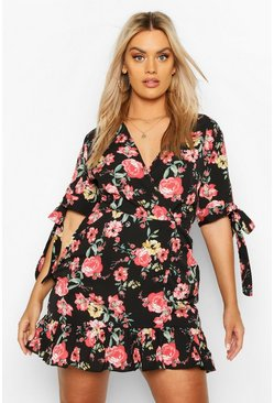Black Plus Floral Ruffle Wrap Dress