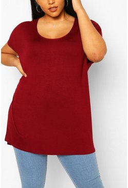 Berry red Plus Oversized T-Shirt