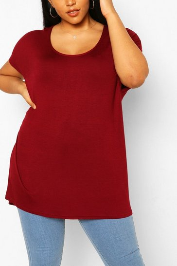 Berry red Red Plus Oversized T-Shirt
