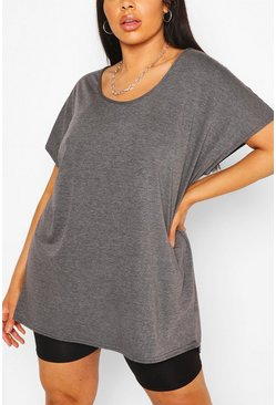Charcoal grey Plus Oversized T-Shirt