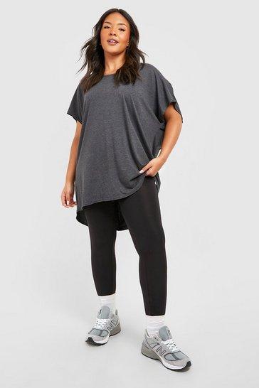 Charcoal grey Grey Plus Oversized T-Shirt