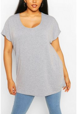 Plus t-shirt oversize, Grey grigio